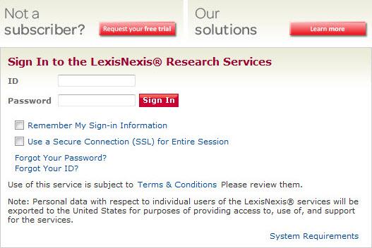 LexisNexis Research Services Login